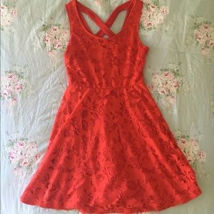 red lace floral dress