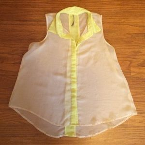 Tops - White/Green Sheer Flowy Top. Size Small.