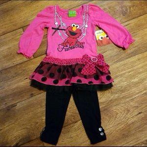 Sesame Street Other - Elmo Fabulous Tutu Top & Pants Outfit Set