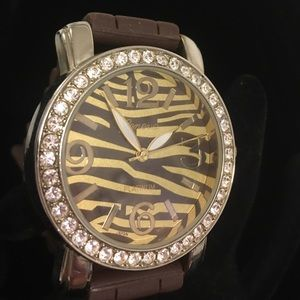 Geneva Platinum Accessories - Brown zebra face silicon watch