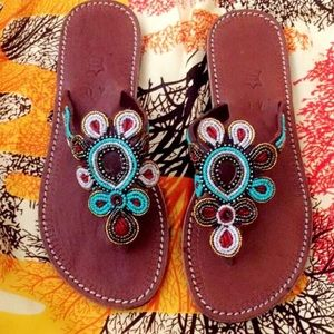 Shoes - African Genuine Leather handmade Beaded Sandals