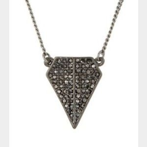 Gray blades pave necklace
