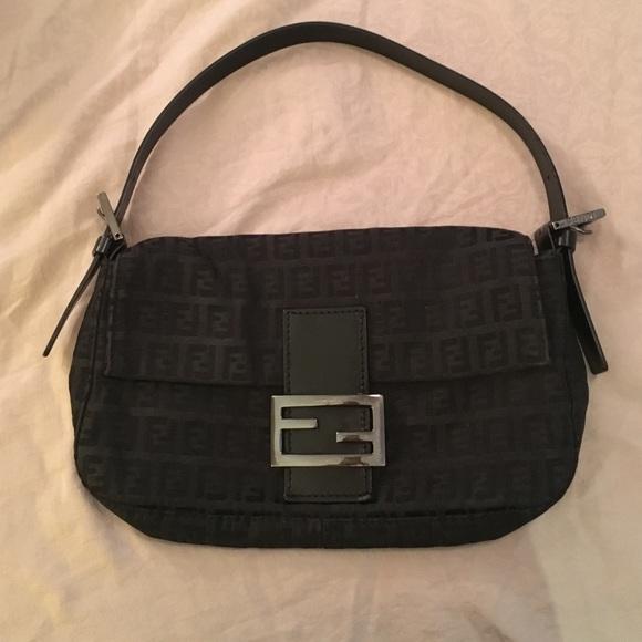 3a2f094911 Fendi Handbags - Black monogram Fendi baguette bag