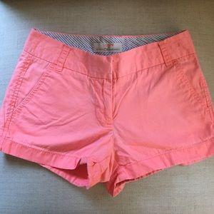 "J. Crew Neon Pink 3"" Chino Shorts Size 00."