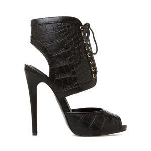 Shoedazzle Jaida Black Lace Up Croc Heel