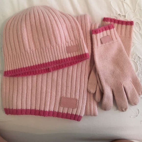 69 coach accessories pink scarf hat gloves set by