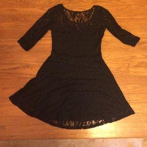 Dresses & Skirts - Black Lace A Line Mid Length Dress. Size M.