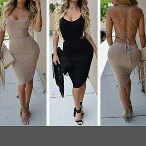 Dresses & Skirts - Nude backless lace up club sexy dress