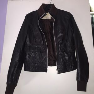 Zara brown leather Moto jacket