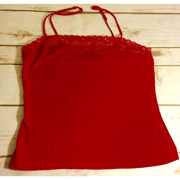 Banana Republic Tops - Banana Republic cami red  silk/cotton blend w/lace