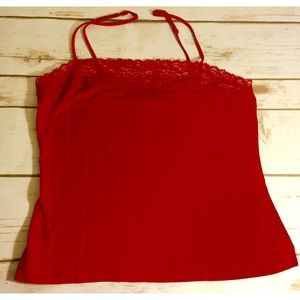 Banana Republic cami red  silk/cotton blend w/lace