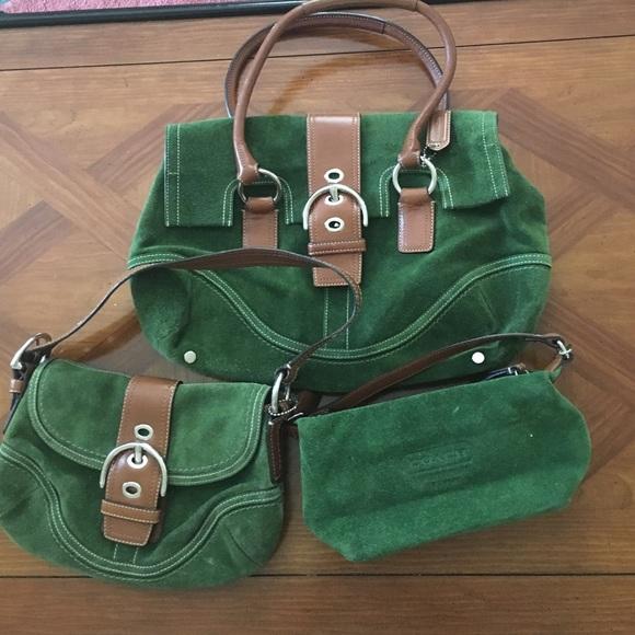 Coach Handbags - ✨Coach Green Suede✨ 3 Piece Set 04c2f013c4886