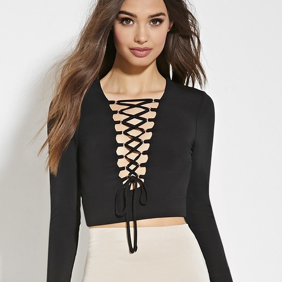 0f401a3064b Brandy Melville Tops | Forever 21 Black Lace Up Crop Top | Poshmark