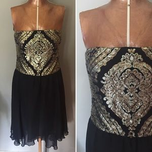As U Wish Dresses & Skirts - As U Wish High Low Black And Gold Cocktail Dress
