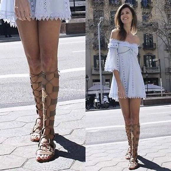 ... Knee High Gladiator Lace Up Sandals! M 57a7784f8f0fc4fb5e008136