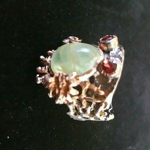Jewelry - Prehnite and Garnet Ring 10.25