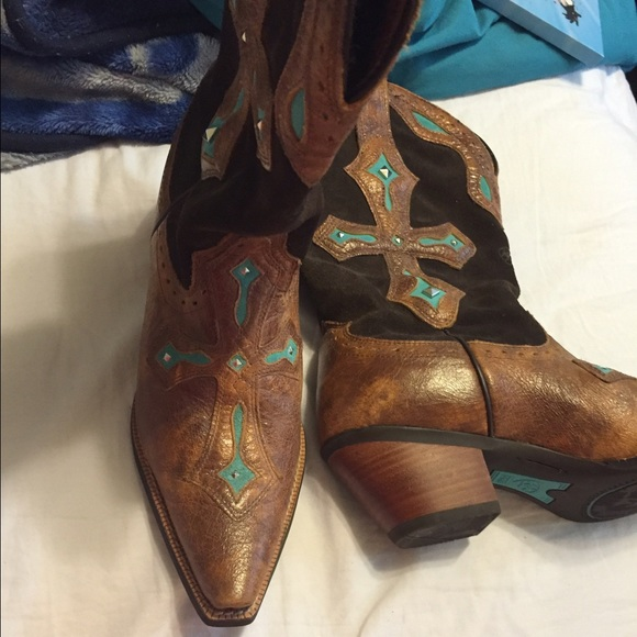 Creative SMOKY MOUNTAINS BOOTS Teal Amp Brown Leather Cowboy Western Boots Women