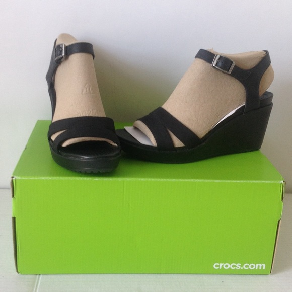 aaeee396033411 NEW NIB Crocs Leigh II Black Ankle Strap Wedges 8