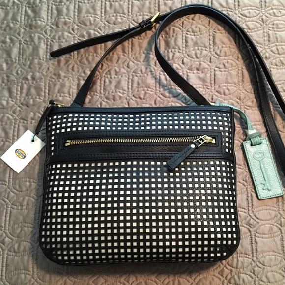 c2078df50 Fossil Bags | Ava Black Perforated Leather Crossbody | Poshmark