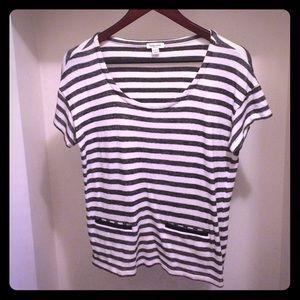 Splendid Tops - Splendid Striped Top with Faux Pockets