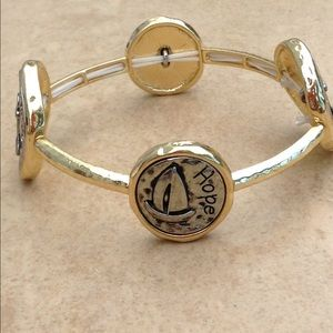 Two Tone Hope Anchors the Soul Stretch Bracelet