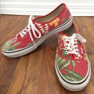 dadb2f700f550c Vans Shoes - Authentic Slim Red Hawaiian Print Van Doren s