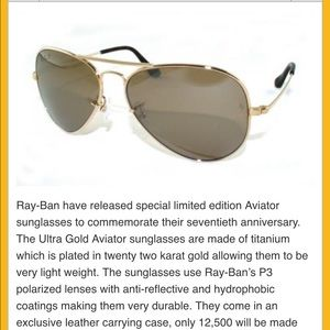 9c7f6a6163 ... best price ray ban accessories rare 22k gold anniversary ray ban p3  aviators 46cf9 9e237 ...
