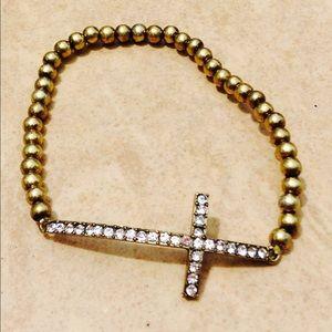 Jewelry - Antique Gold Tone Crystal Sideways Cross Bracelet