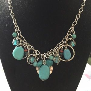 Jewelry - Handmade turquoise multi charm necklace