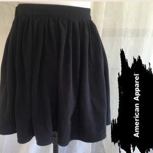 American Apparel Basic Black Swing Skirt In Cotton