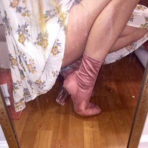 Shoes - pink suede clear heel ankle booties!