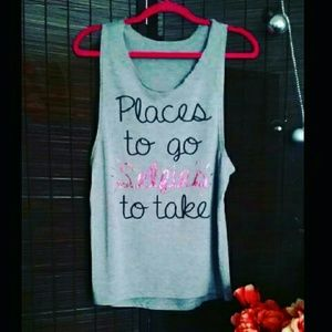 """""""Places to go SELFIES to take"""" Muscle tank"""