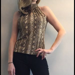 Michael Kors snakeskin print sleeveless blouse