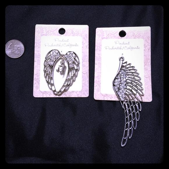 Jewelry - Two Silver Angel wing Crystal Pendants [JW-89]