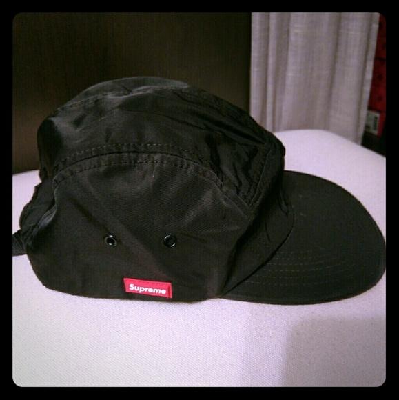 Supreme brand black 5 panel hat. M 57a7a30141b4e0c6cf00d66c 54cf4372a54