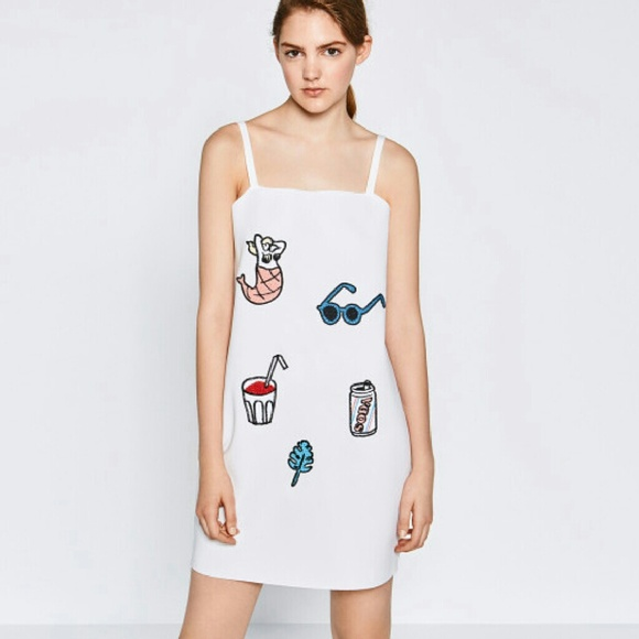 Zara dresses white dress with embroidered patches poshmark m57a7a64899086a8f42020785 mightylinksfo