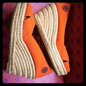 Tory Burch burnt orange espadrilles size 5 1/2
