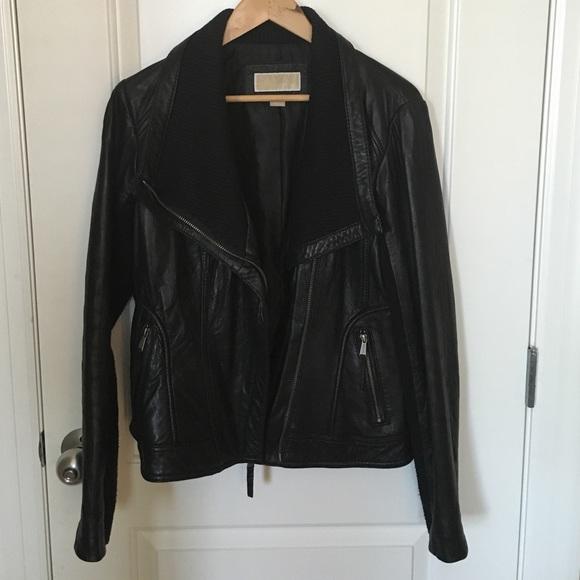 50083c150d7a Michael Kors Black Leather Jacket Rib Knit Detail.  M 57a7ab09a88e7d6bef020e5e
