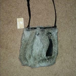 Michael Kors Real Fur and Black Leather Crossbody