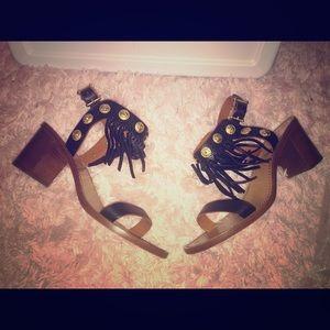 Valentino Shoes - Valentino black fringe coin sandals