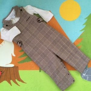 E-Land Kids Other - E.land Kids winter plaid longalls overalls