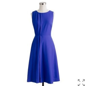 J. Crew Cobalt Blue Pleated Dress Super 120s Wool