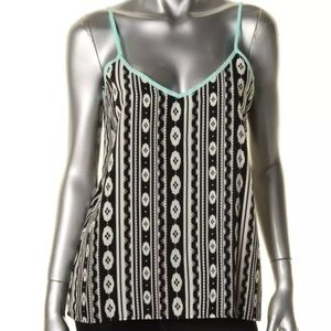 Miss Chievous Tops - Tribal print tank top blouse black turquoise white