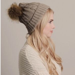 Accessories - Cable Knit Mocha Pom Beanie
