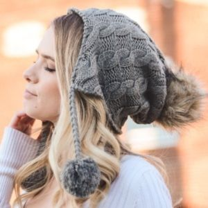 Accessories - Cable Knit Ear Flap Beanie