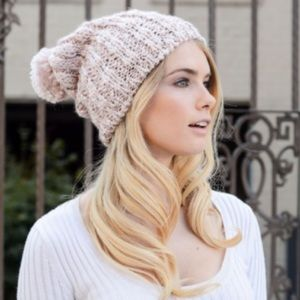 Accessories - Baby Pink Slouchy Pom Beanie