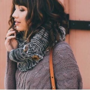 Accessories - Chunky Knit Button Infinity Scarf