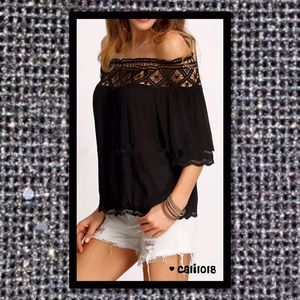⚡FLASH SALE ONE HOUR ONLY Black Boho Off Shoul