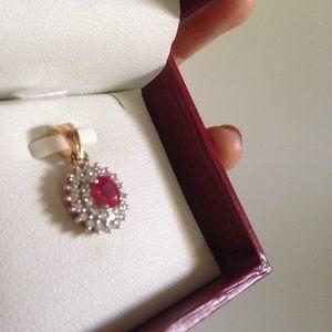 Jewelry - Ruby & Diamomd 18k gold pendant