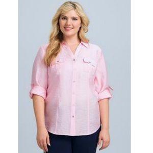 Dress Barn Tops - Roz & Ali Dress Barn Pink Button Down Shirt 3/4
